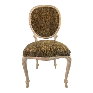1980s Regency Faux Bois Velvet Accent Chair For Sale