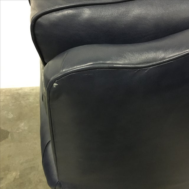 Navy Blue Swivel Recliner by Leathercraft - Image 9 of 10