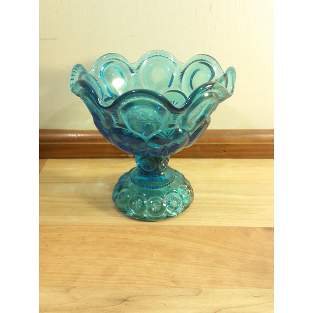 "L.E. Smith ""Moon and Stars"" Pattern Blue Glass Footed Compote Dish - Image 2 of 5"