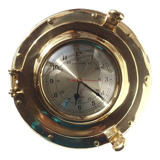 1980s Solid Brass Vintage Nautical Porthole With Clock For Sale