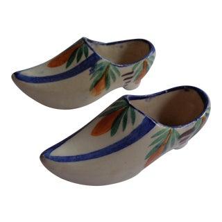 Miniature French Quimper Shoe Clog Salt Cellars- a Pair