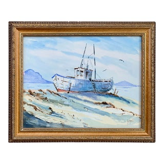 Fishing Boat Nautical Watercolor Painting- Framed For Sale