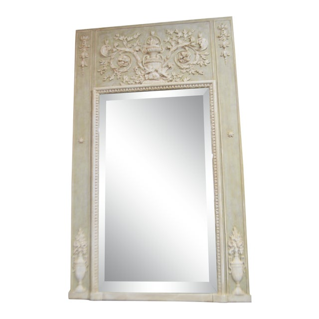 Louis XV Style Painted Trumeay Mirror in a Light Green to With Antique White Accent, New Beveled Mirror For Sale