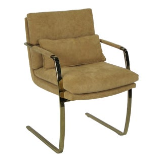 Set of Four Brass Armchairs by Pace For Sale