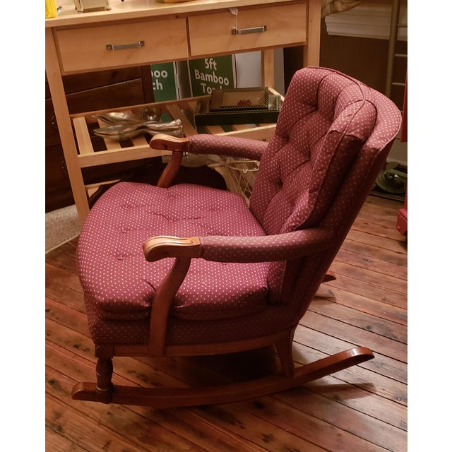 This is a vintage Sam Moore tufted rocking chair. The piece is from the 1960s. The bottom cushion is removable.