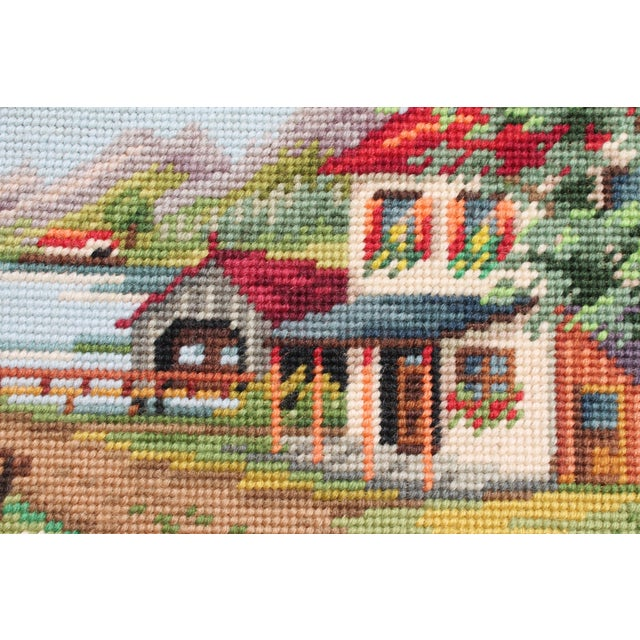 Mid-Century Modern Vintage Framed Country Home Needlepoint For Sale - Image 3 of 10