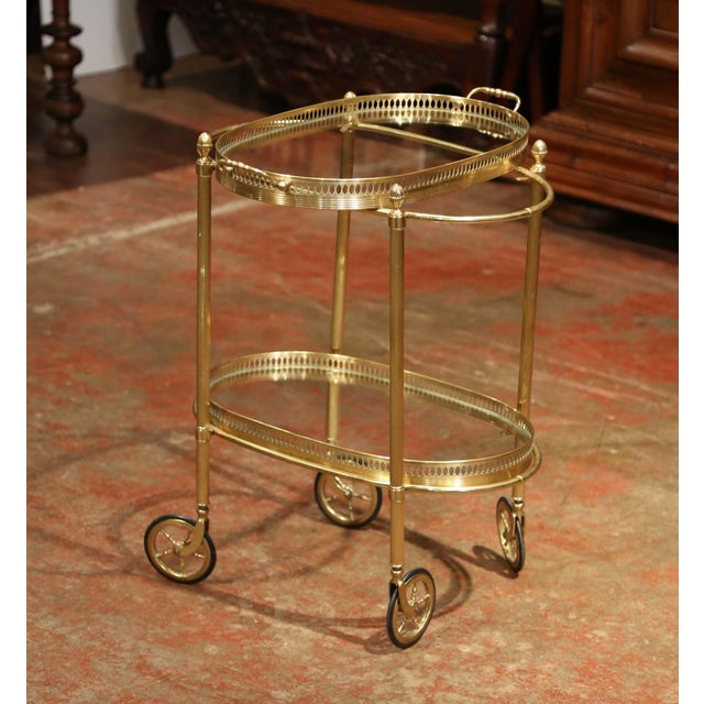Early 20th Century, French Oval Brass Dessert Table or Bar Cart on Wheels For Sale In Dallas - Image 6 of 9