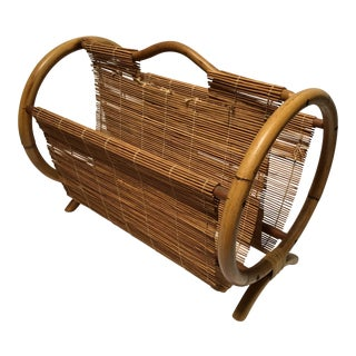 Vintage Mid-Century Bentwood Rattan & Bamboo Magazine Rack For Sale