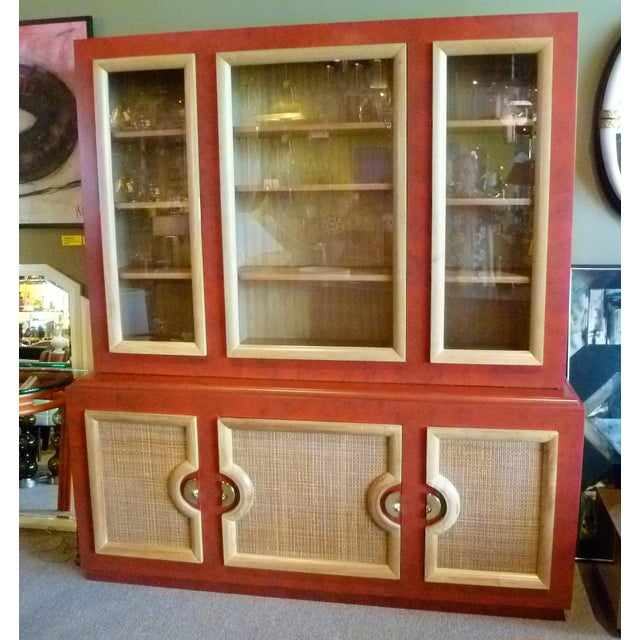 1940s Antique Paul Laszlo Style Faux Red Leather Finished Buffet / Breakfront For Sale - Image 13 of 13