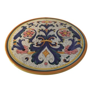 Late 19th Century Deruta Italian Hand Painted Cake Plate For Sale