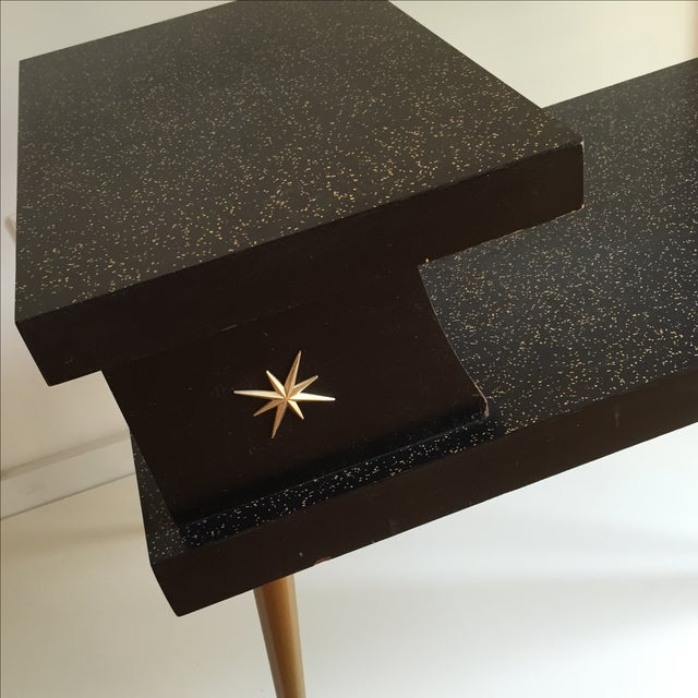 Mid-Century Black & Gold Starburst Side Table For Sale - Image 7 of 9