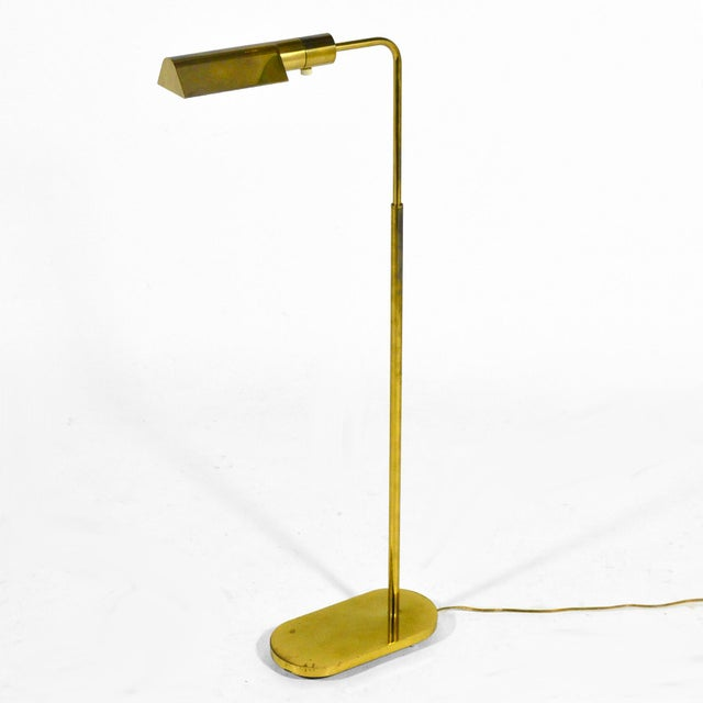 Casella Adjustable Brass Pharmacy Floor Lamp For Sale - Image 9 of 11
