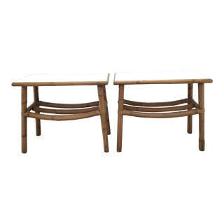 1960s Mid Century Rattan End Tables- a Pair For Sale