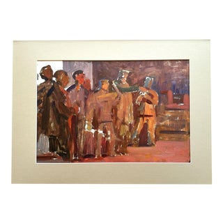 1960s Industrial Mid Century Abstract Figurative Painting For Sale