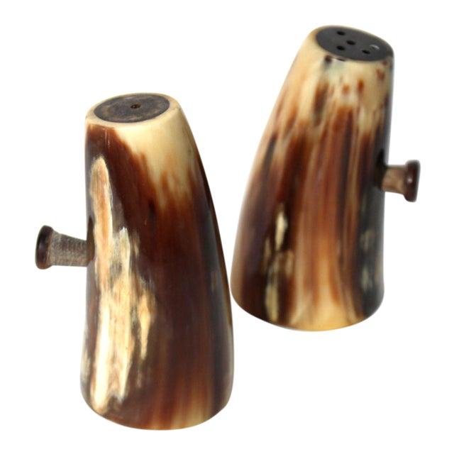 Vintage Unused Hand Carved Natural Horn Salt & Pepper Shakers For Sale