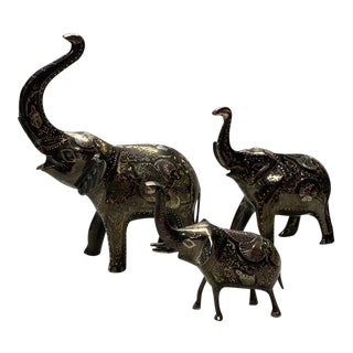 Hand Carved and Painted Metal Elephants - Set of 3 For Sale