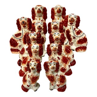 Graduated Staffordshire Spaniels, circa 1850 - Set of 12 For Sale