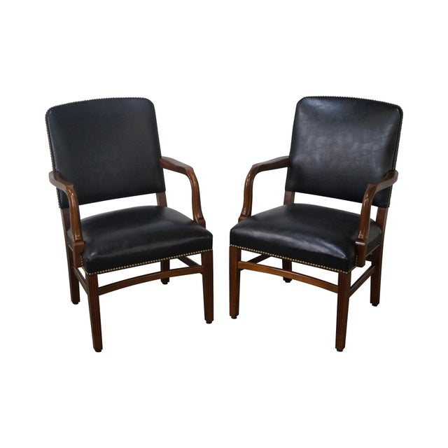 Gunlocke Traditional Black Office Arm Chairs - A Pair - Image 1 of 10
