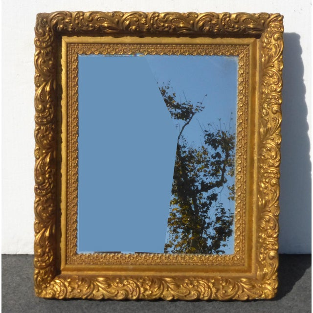 Vintage Antique Wall Mantle Mirror Decorative Gold Gilt Ornate Square Frame For Sale - Image 9 of 10