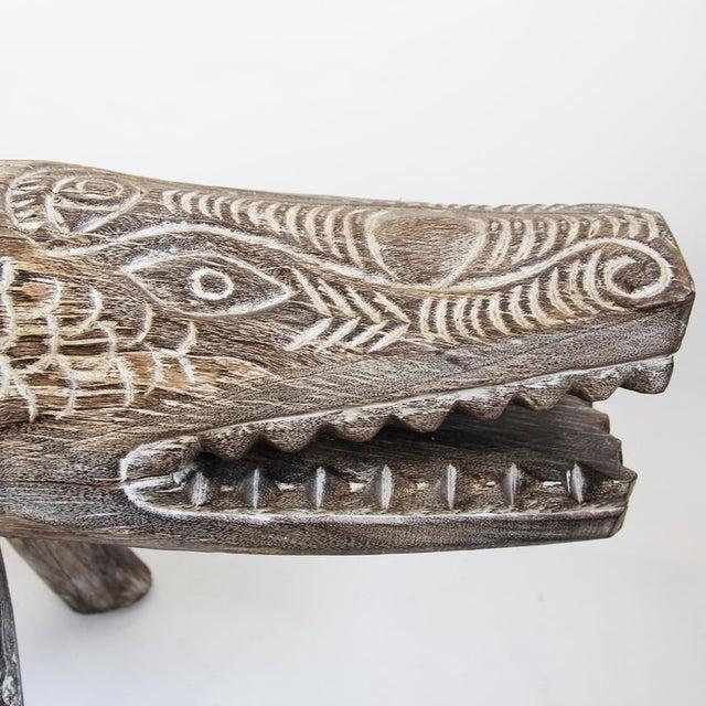 Boho Chic Washed Wood Crocodile Bench For Sale - Image 3 of 3