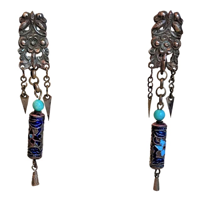 Antique Chinese Enamel and Turquoise Bead Earrings For Sale