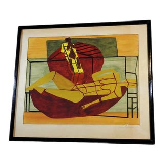 Mid-Century Cubist Mixed Media Painting Signed For Sale