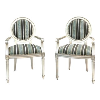 Contemporary Striped Velvet and Silver Leaf Arm Chairs - a Pair