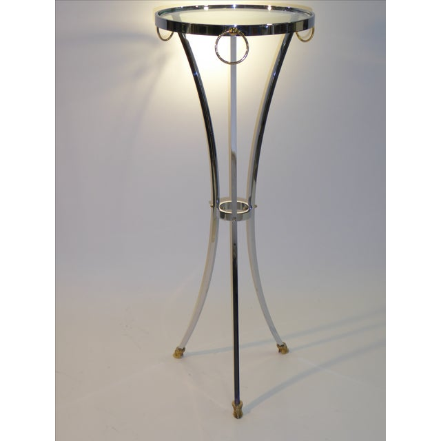 Maison Jansen Empire Style Chrome and Brass Pedestal Table For Sale - Image 11 of 12
