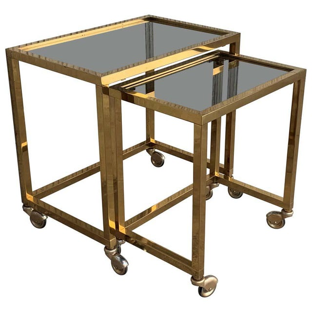 Nesting Tables Italian Design 1970 in Brass With Smoked Glass and Wheels - a Pair For Sale - Image 11 of 11