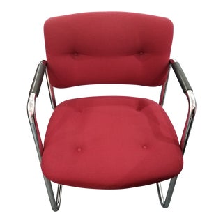 Vintage Steelcase Cantilever Red Upholstered Chrome Armchairs For Sale