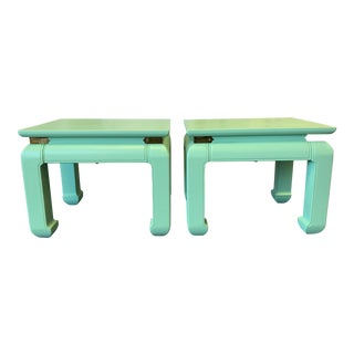 1970s Asian Solid Wood and Brass Side Tables - a Pair For Sale