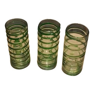 Green Blown Glass Cylinder Vases - Set of 3