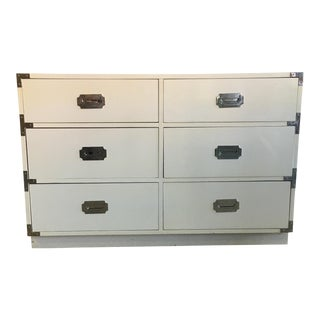 Vintage Dixie Campaign White Chest of Drawers