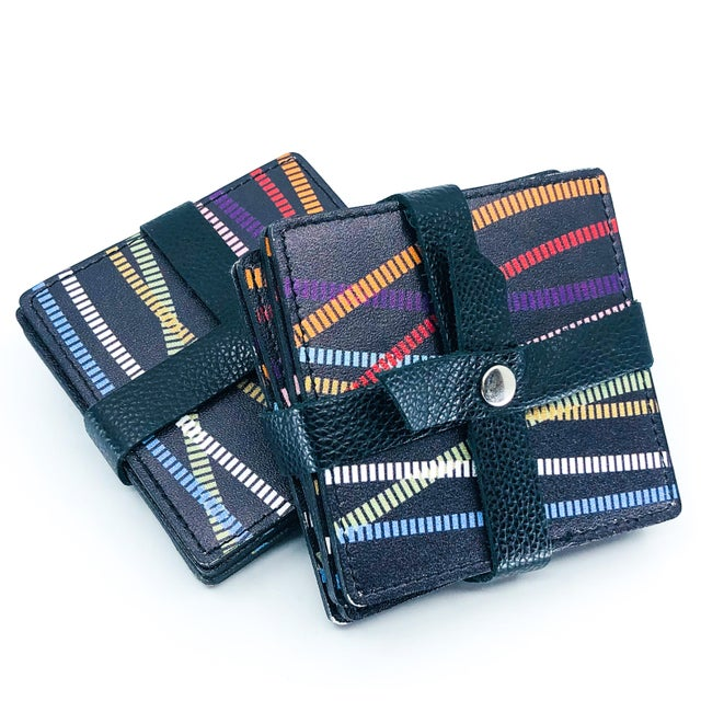 Contemporary Italian Black Leather Coasters With Multi Color Design - Set of 4 For Sale - Image 3 of 4