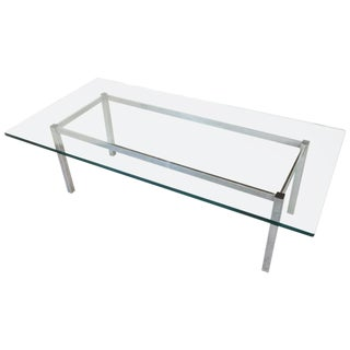 1970s Mid-Century Modern Chrome and Glass Rectangular Coffee Table