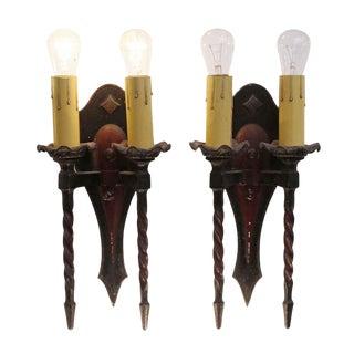 Antique Arts & Crafts Double Arm Bronze Sconces - a Pair For Sale