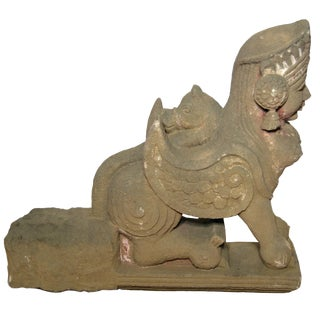19th Century Hand-Carved Stone Sphinx With Tiara and Earrings Sculpture For Sale