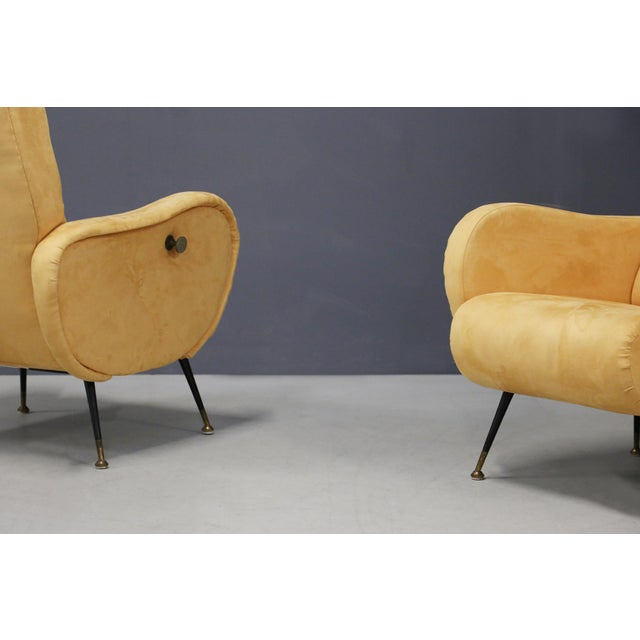 Pair of MidCentury Reclining Armchairs in Yellow Velvet in Zanuso Style, 1950s For Sale - Image 4 of 9