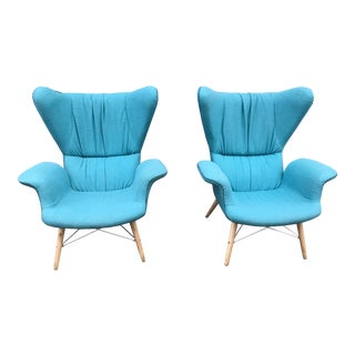 Contemporary Blue Papa Bear Style Club Chairs - a Pair For Sale