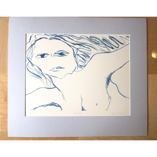 "11970s Vintage Suzanne Peters ""Swimmer""Signed Limited Edition Nude Figural Stone Lithograph For Sale - Image 10 of 10"