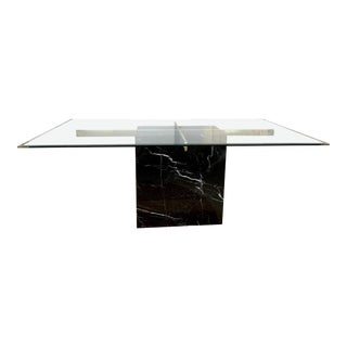 Modern Artedi Black Marble and Brass Dining Table