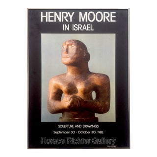 """ Henry Moore in Israel "" Vintage 1982 Lithograph Print Framed Exhibition Poster For Sale"