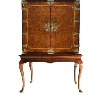 1970 Century Furniture French Chinoiserie Burlwood Raised Cabinet For Sale