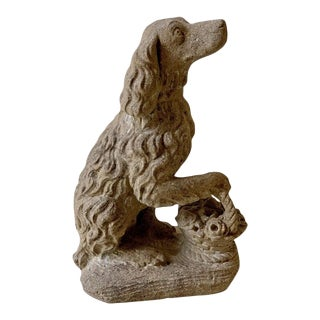 Vintage Cast Stone Life Size Spaniel With Its Paw on a Basket For Sale