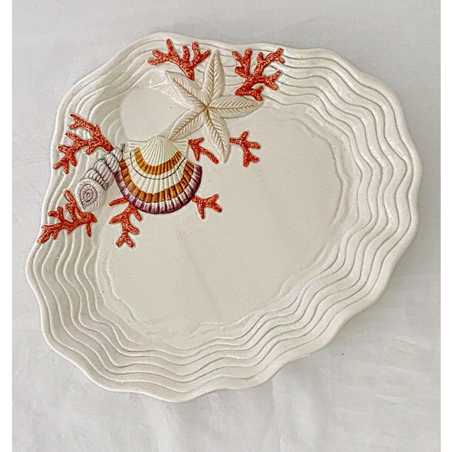 Vintage Fitz & Floyd Ceramic Sea Shell Oyster Charger Serving Platter For Sale - Image 12 of 12