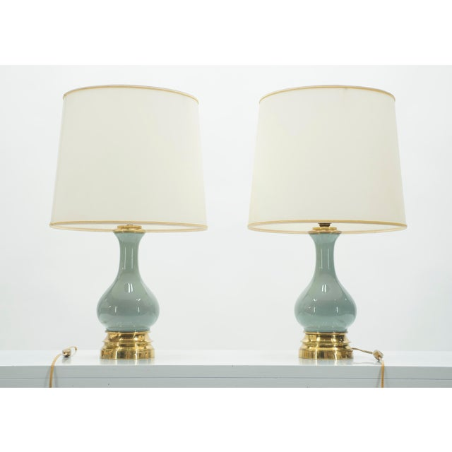 Mid-Century Pair of French Light Blue Ceramic and Brass Lamps 1960s For Sale - Image 4 of 9