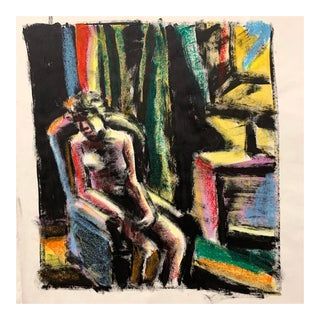 """Donald Stacy """"Sitting in Chair"""" C.1950s Gouache and Oil Pastel Mid Century Painting For Sale"""