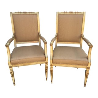 20th Century Louis XVI Style Partial Gilded Arm Chairs - a Pair For Sale