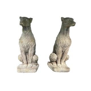 Pair of Decorative Concrete Dogs For Sale