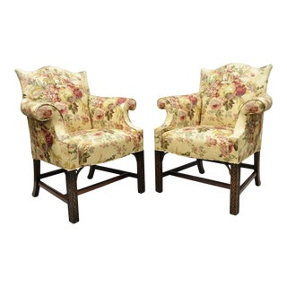 Southwood Chinese Chippendale Carved Fretwork Legs Lounge Arm Chairs - a Pair For Sale
